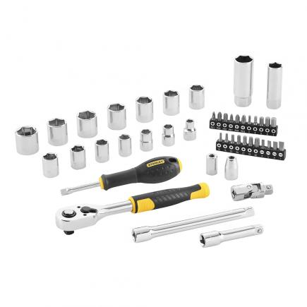 """STANLEY Set of 45 pcs socket wrenches - 3/8"""" - 1"""