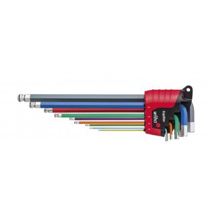 WIHA L-key set in ErgoStar holder hexagonal ball Magicring® in flourescent colour (10-pcs.) - 1