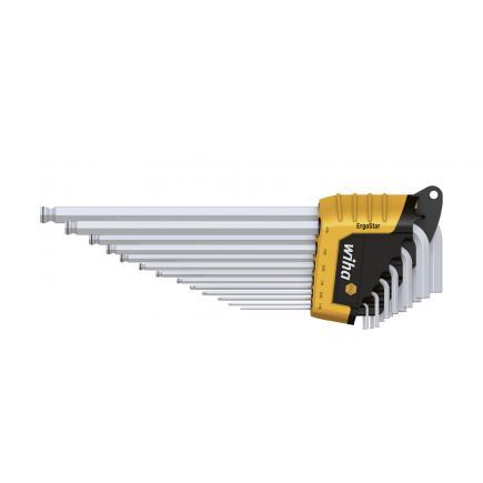 WIHA L-key set in ErgoStar holder Hexagonal ball end MagicRing® matt chrome-plated inch design (14-pcs.) - 1
