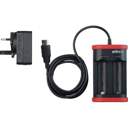 WIHA Charger for 18500 Li-ion batteries with USB and UK plug - 1