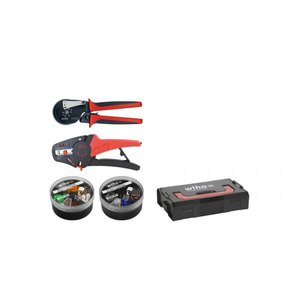 WIHA Stripping and crimping tool set with wire end sleeves (500 units) colour code 1 (FR) in L-Boxx Mini (5-pcs.) - 1