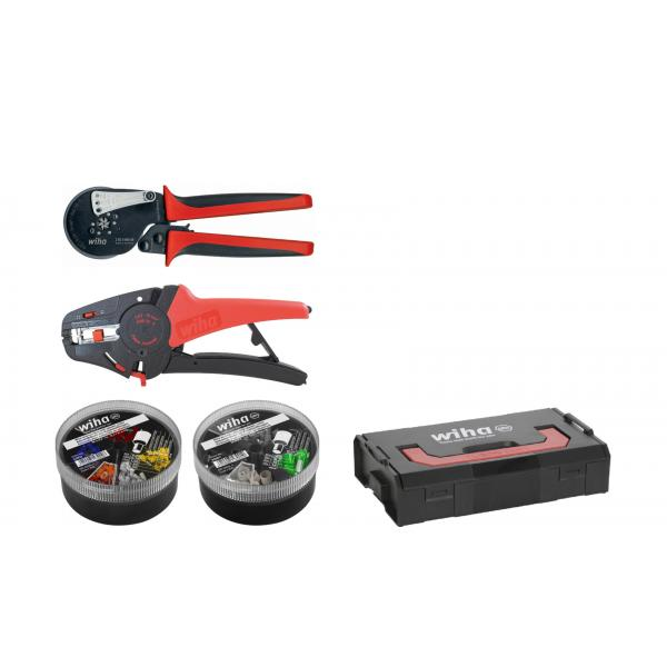 WIHA Stripping and crimping tool set with wire end sleeves (500 units) colour code 2 (DE) in L-Boxx Mini (5-pcs.) - 1