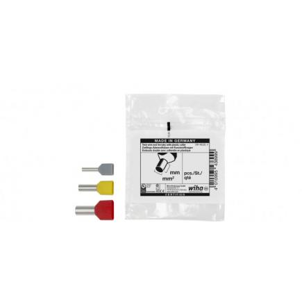 WIHA Twin wire end ferrules with plastic collar with colour code 1 (FR) & DIN (100pcs.) - 1