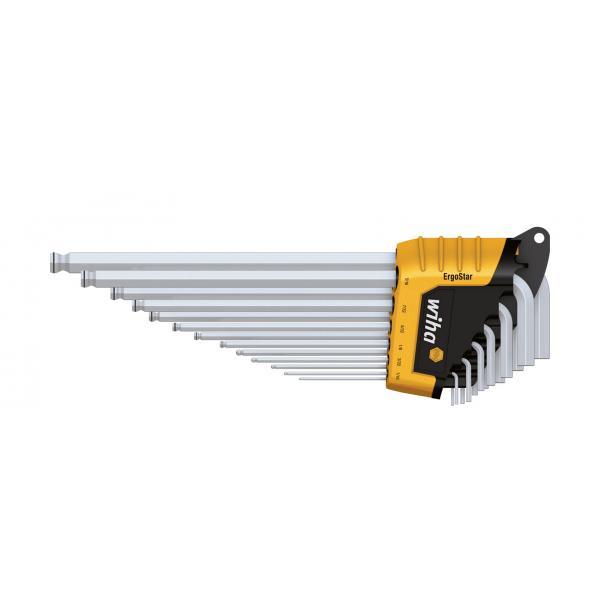 WIHA L-key set in ErgoStar holder MagicRing® hexagonal ball end in inch design matt chrome-plated in blister pack (14-pcs.) - 1