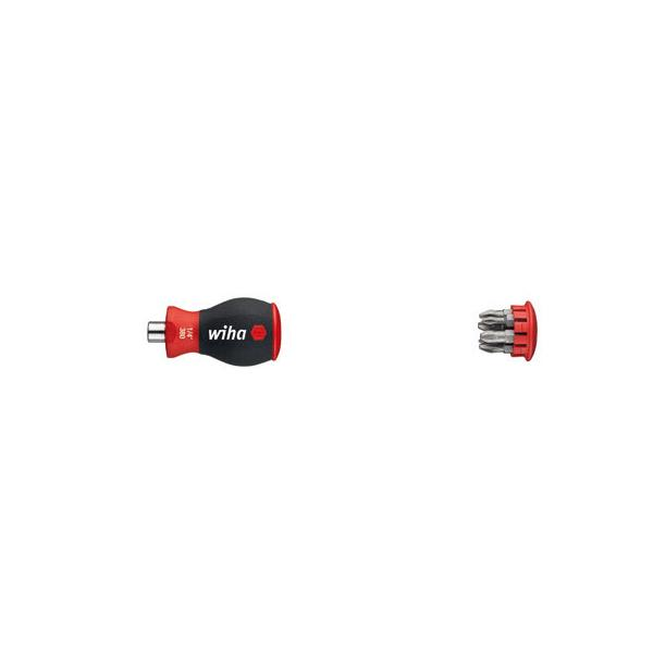 """WIHA Screwdriver with bit magazine magnetic with 6 bits Pozidriv and Phillips Stubby 1/4"""" in blister pack - 1"""