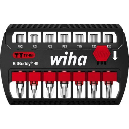 "WIHA BitBuddy® TY bit set 49 mm Phillips, Pozidriv and TORX® 1/4"" (8-pcs.) - 1"