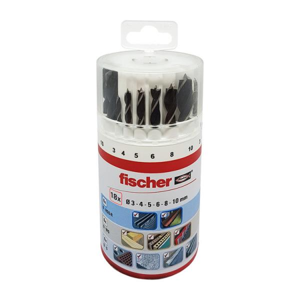 FISCHER Set of 18 drill bits (masonry, wood and metal) - 1