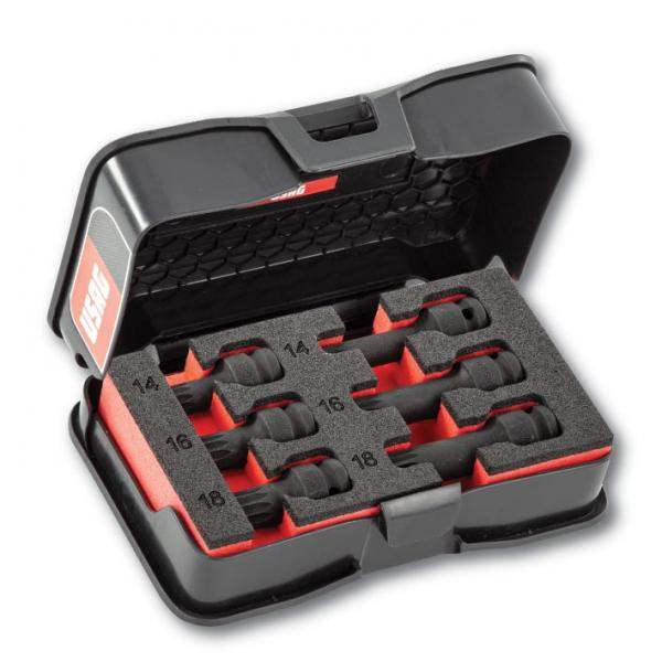 """USAG Assortment with short and long XZN 1/2"""" sockets in ABS case (6 pcs.) - 1"""