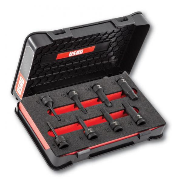"""USAG Assortment with 1/2"""" impact hexagonal sockets in ABS case (8 pcs.) - 1"""