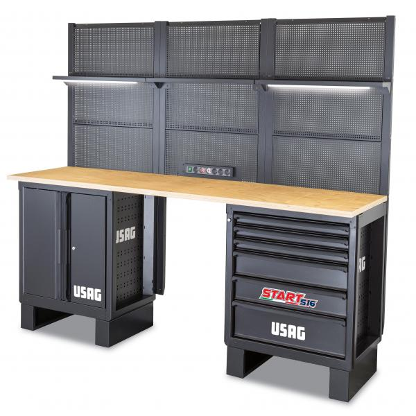 USAG Workshop furniture - wooden top - 2175x650x2000 mm - 1