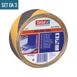 TESA Set of 3 Self-adhesive Anti Slip safety tape - Yellow/Black - 3