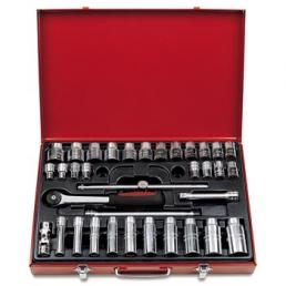 "USAG Assortment in sheet steel case with bihexagonal sockets and 1/2"" ratchet (35 pcs.) - 1"