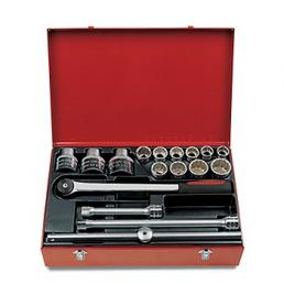"""USAG Assortment in sheet steel box with hexagonal sockets and 3/4"""" ratchet (17 pcs.) - 1"""