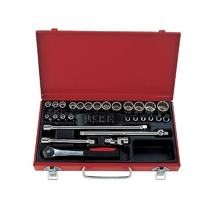 """USAG Assortment in sheet steel case with hexagonal sockets and 3/8"""" ratchet (28 pcs.) - 1"""