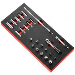 "FACOM 1/4"" locking ratchet and inch-size sockets foam module - 1"