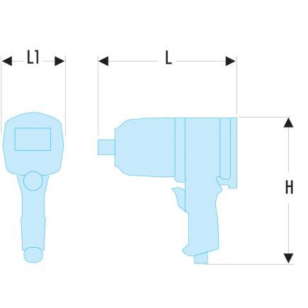 "FACOM 1"" gun-type impact wrench - long anvil - high performance - 2"