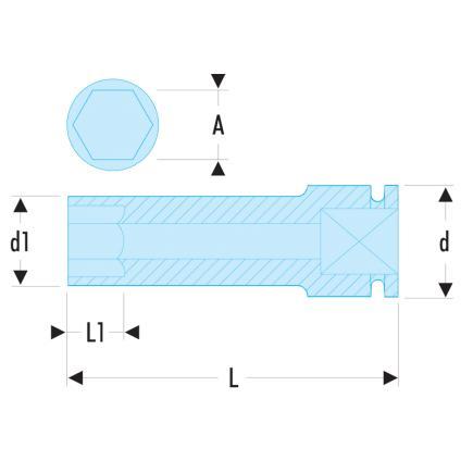 "FACOM NSB - 1/2"" drive long-reach metric thin-wall 6-point impact sockets - 2"