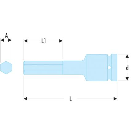 "FACOM NSHM 1/2"" drive metric impact bits for hexagon socket heads - 2"