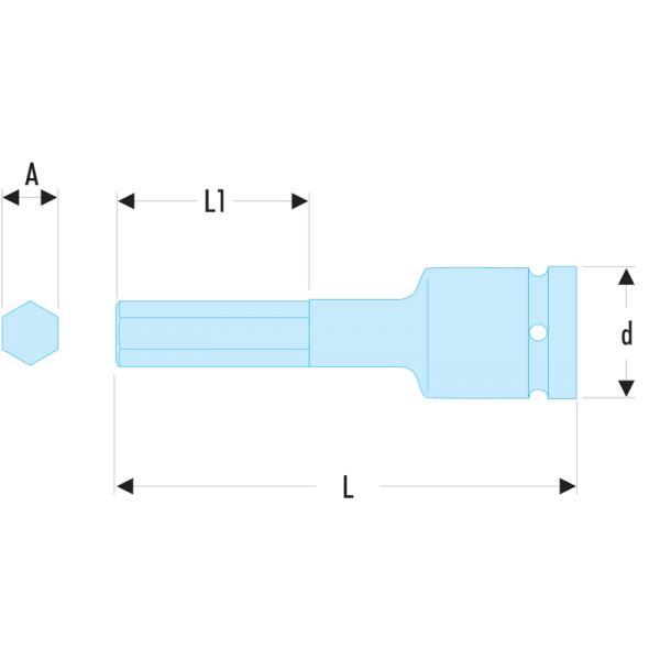 "6 mm x 75 mm long Facom NSHM .6 1//2/"" Drive Impact Hexagon Key Bit Socket"