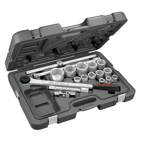 """USAG Assortment with hexagonal sockets and 3/4"""" ratchet in ABS case (18 pcs.) - 1"""