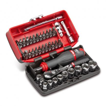 """USAG Assortment with hexagonal sockets, 1/4"""" ratchet and bits in bimaterial box (38 pcs.) - 1"""