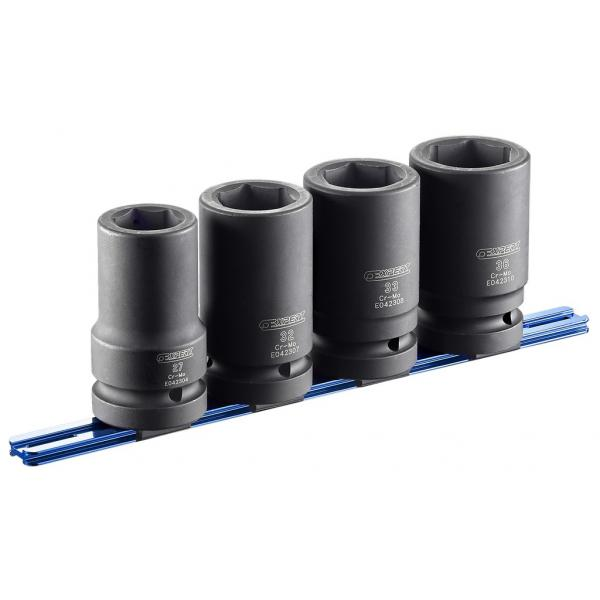 "EXPERT E041648 - 4 piece set of 1"" long reach impact sockets on rack - 1"