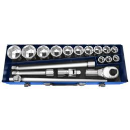 """EXPERT 3/4"""" 6 point sockets Metric 18 pieces - 1"""