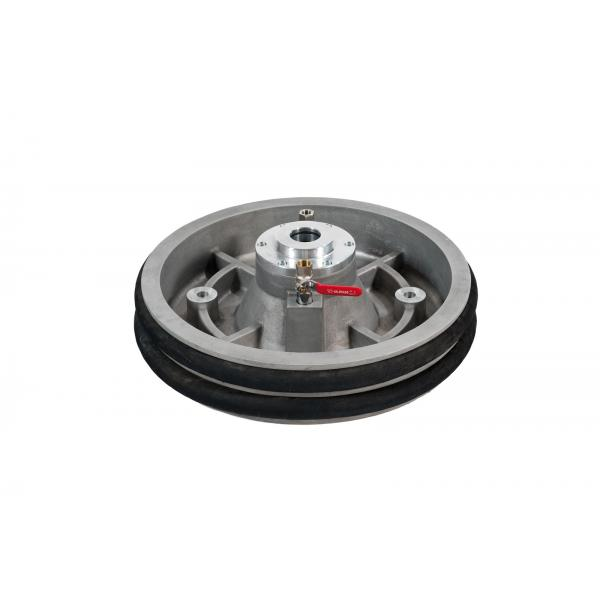 MECLUBE 012-1250-045 - Aluminium follower plate with rubber double ring Ø 585mm for barrels 180 220 kg Ø 45 mm shank - 1