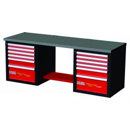 USAG RACING workbench with sheet steel top - 12 drawers - 1