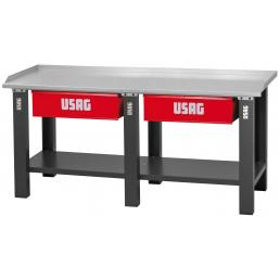 USAG Workbench with sheet steel top - 2 drawers - 1