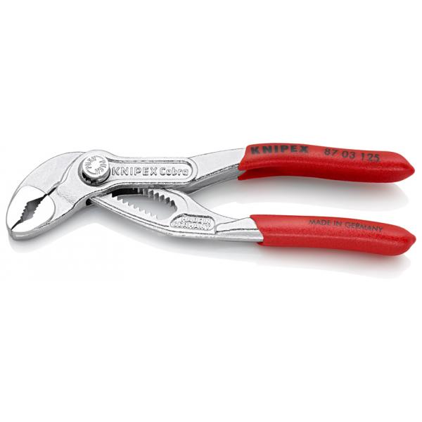 KNIPEX Cobra® Hightech Water Pump Pliers chrome plated, handles with non-slip plastic coating - 1