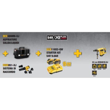DeWALT Vacuum kit DCV586MN-XJ + connection system DWH051-XJ + Starter kit DCB118X2-QW + hammer DCH481N-XJ - 1