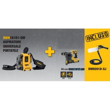 DeWALT DWH161D1-QW vacuum cleaner kit + DWH201D-XJ connection system + DCH273P2T-QW rotary hammer - 1