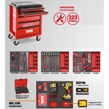 USAG Start roller cabinet with maintenance assortment - 4 drawers (223 tools) - 1