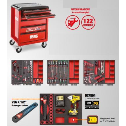 USAG Start trolley with auto repair assortment - 4 drawers (122 tools) - 1