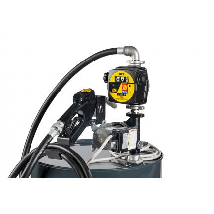 """MECLUBE Transfer electric kit pumps for diesel """"Barrel Kit"""" 60 lt/min 12V automatic nozzle with flow meter - 1"""