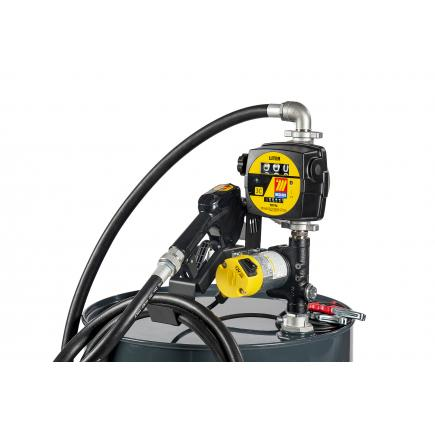 "MECLUBE Transfer electric kit pumps for diesel ""Barrel Kit"" 45 lt/min 24V automatic nozzle with flow meter - 1"