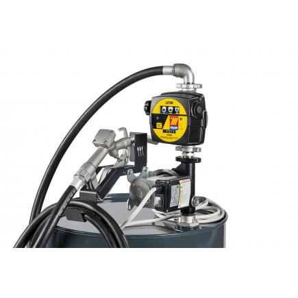 "MECLUBE Transfer electric kit pumps for diesel ""Barrel Kit"" 60 lt/min 24V manual nozzle with flow meter - 1"