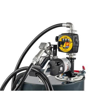 "MECLUBE Transfer electric kit pumps for diesel ""Barrel Kit"" 85 lt/min 24V manual nozzle with flow meter - 1"