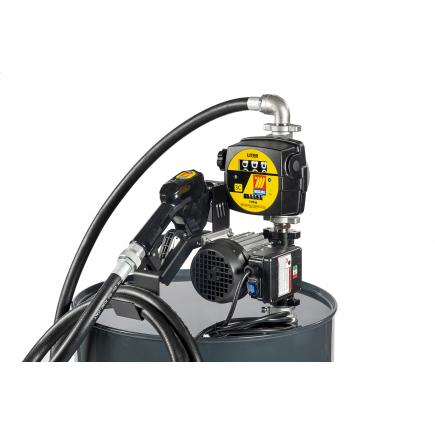 """MECLUBE Transfer electric kit pumps for diesel """"Barrel Kit"""" 70 lt/min 115V automatic nozzle with flow meter - 1"""