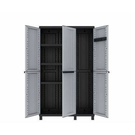 TERRY 3 Doors Resin Cabinet 102x39x170 - 3 adjustable inner shelves - 1