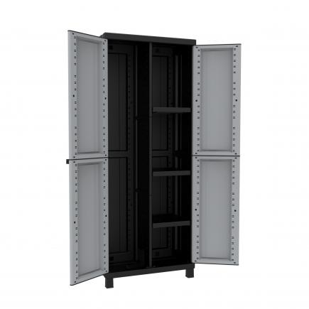 TERRY 2 Doors Resin Cabinet 68x39x170 - 3 adjustable inner shelves - 1 broom holder -  sc 1 st  Mister Worker & TERRY TWIST BLACK 3680 2 Doors Resin Cabinet 68x39x170 - 3 ...
