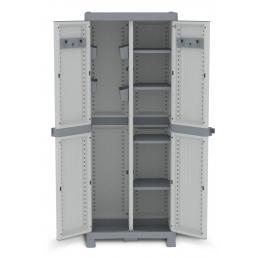 TERRY 2 Doors Outdoor Cabinet 70x43,8x181,8 - 4 adjustable inner shelves - 2 broom holder - 4 bins - 3