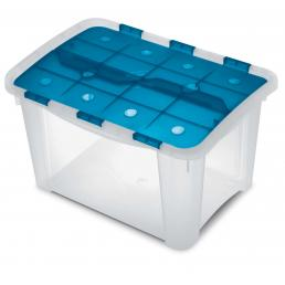 TERRY Multifunctional box with hinged lid Ocean/Trasparent - 1