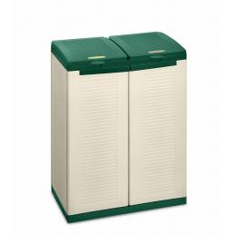 TERRY 2 door resin cabinet for differentiated waste collection - Green/sand - 2