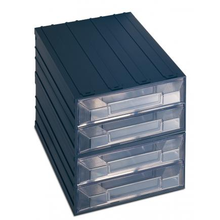 TERRY Drawer small parts organizer with label holder, 4 rectangular drawers 24,9x36,6x25 - 1