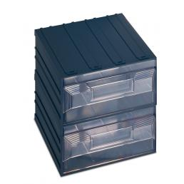 TERRY Drawer small parts organizer with label holder, 2 rectangular drawers 20,8x22,2x20,8 - 1