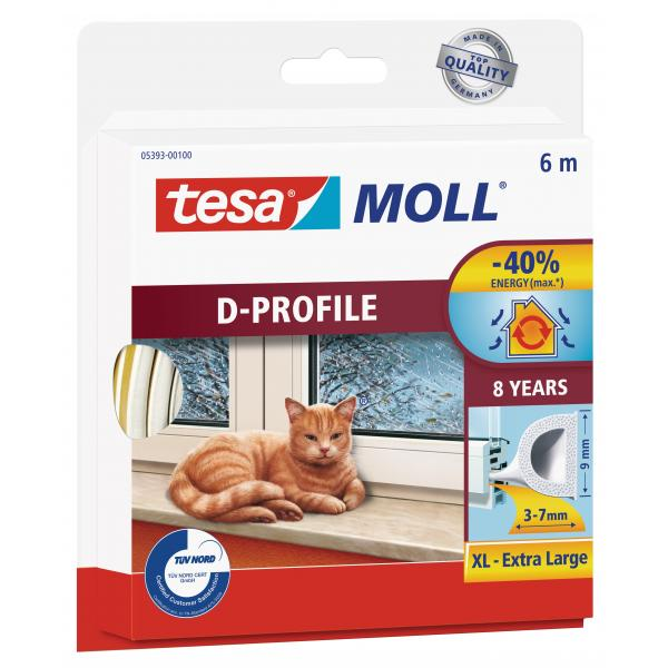 TESA Weather strip for windows and doors - D Profile 6 mt x 9 mm x 7 mm - 1