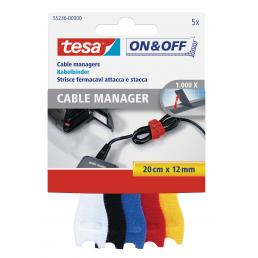 TESA Hook & Loop Small Cable Manager - 0.2 mt x 12 mm - 5pcs - 1