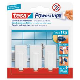 TESA Pack of 18 small Classic Hooks for kitchen and bathroom - holds up to 1kg - 18 hooks + 24 strips - 1